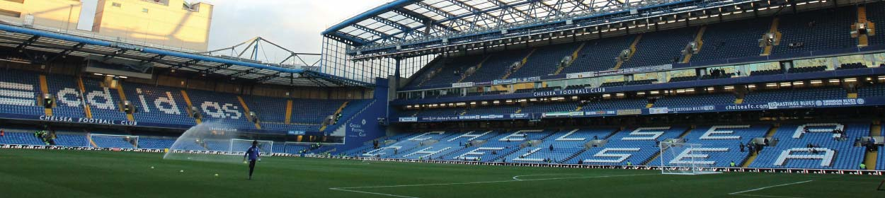 Stamford Bridge stadium where Chelsea play football in the European Champions League
