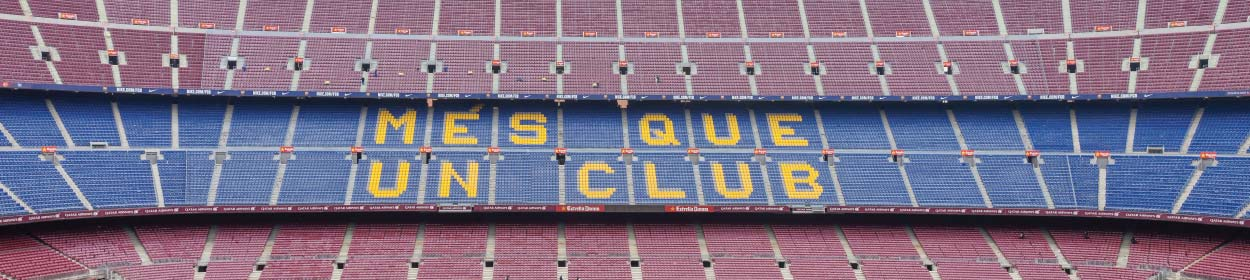 Camp Nou stadium where FC Barcelona play football in the