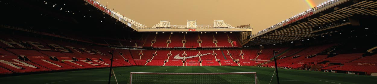 Old Trafford stadium where Manchester United play football in the FA Cup