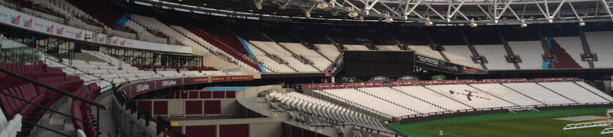 London Stadium where West Ham United play football in the League Cup