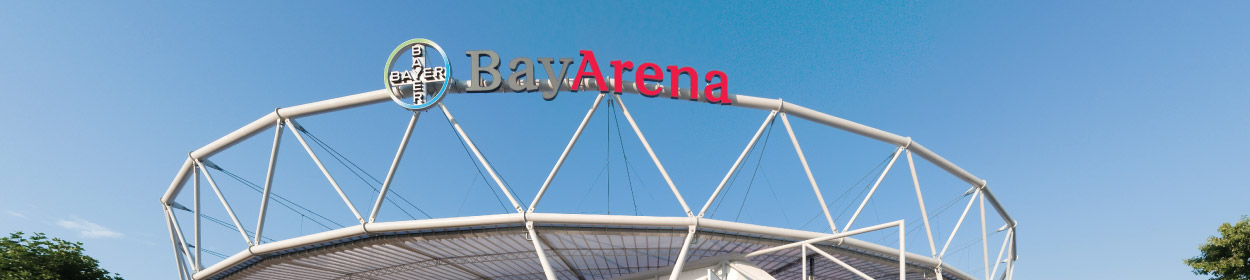 BayArena stadium where Bayer Leverkusen play football in the