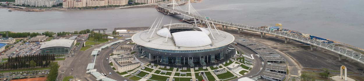 Krestovsky Stadium where Zenit St Petersburg play football in the