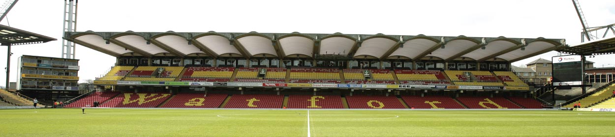 Vicarage Road stadium where Watford play football in the Premier League