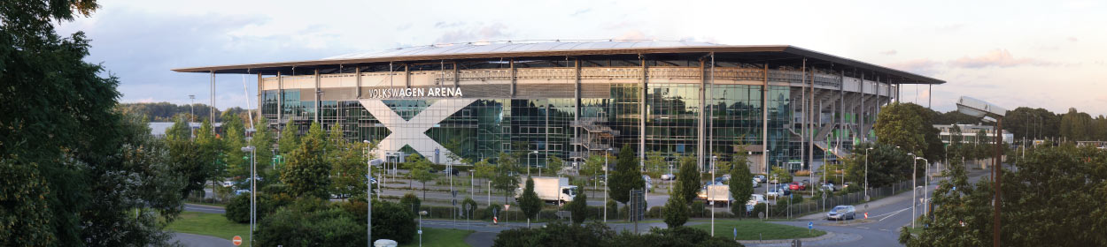 Volkswagen Arena stadium where VfL Wolfsburg play football in the