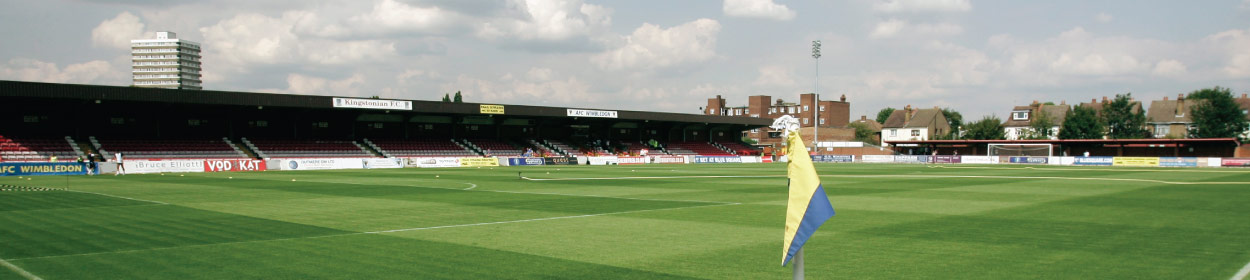 The Cherry Red Records Stadium where AFC Wimbledon play football in the
