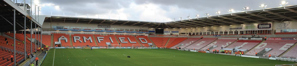 Bloomfield Road stadium where Blackpool play football in the League One