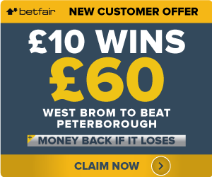 BetFair-Offer West Brom to beat Peterborough