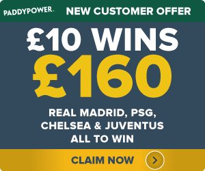 PaddyPower-Offer Real Madrid, PSG, Chelsea and Juventus to win