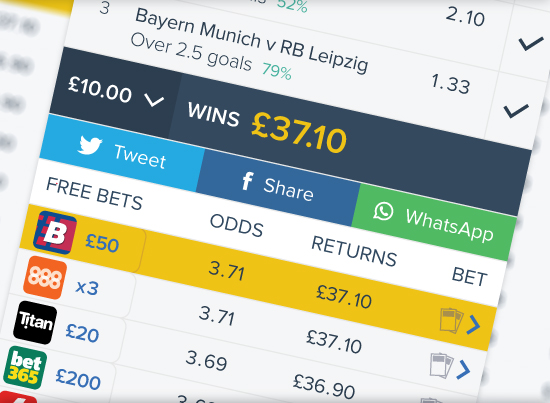 Compare odds and betslip creation section