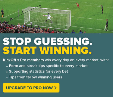 Football goal as a penalty is taken, stop guessing, start winning, upgrade to pro